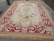Old hand made French Design Laine Or Rouge Original Grand AUBUSSON 432X300cm