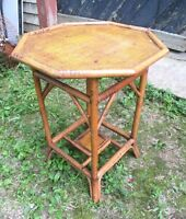 VINTAGE EARLY 20th CENTURY BAMBOO TABLE WITH A CANE TOP