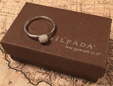 "SILPADA R2820 Sterling Silver Pave Cubic Zirconia ""Disco Lights"" Ring Size 8 New"