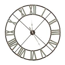 Extra Large 122cm Distressed Aged Metal Iron Roman Numeral Clock High Quality