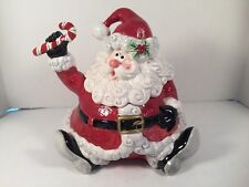 Fitz and Floyd Santa Cookie Jar Yultide Holiday Ceramic Candy Canes Christmas