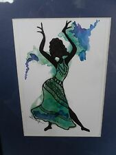 Watercolor painting green black Dancing Woman art home décor ethnic African Amer