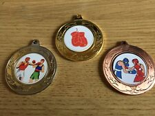 3 x BOXING MEDALS (40mm) GOLD,SILVER & BRONZE - FREE ENGRAVING,CENTRES & RIBBONS