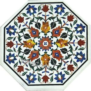 Pietra Dura Art Coffee Table Top White Marble Patio Sofa Table for Home 21 Inch