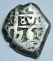 1760 Spanish Silver 1 Reales Cob Piece of 8 Real Colonial Pirate Treasure Coin