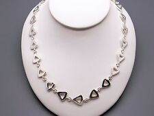 """Handmade Sterling Silver Triangle Circle Link Chain Adjustable Necklace 16"""" 18"""""""