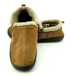 HideAways Mens Roderic Tan Suede Slippers Cozy Faux Fur Lining Size 11