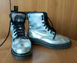 90s DR MARTENS Holografic silver metallic boots Size UK 6 made in England