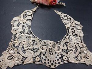 "Antique Schiffli Lace  Ecru bib style collar   11"" x  9"" Gorgeous!"