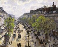 Boulevard Montmartre Spring, Paris Painting by Camille Pissarro Reproduction