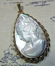 Estate Victorian Teardrop Shape Cameo Pendant in 14 KT Gold Crown and Rope Bezel