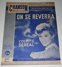 Partition vintage sheet music COLETTE DEREAL : On se Reverra * 60's