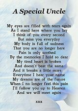 A Special Uncle Memorial Graveside Poem Card With Free Ground Stake F184