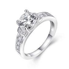 FRECCE Placcato in Oro Bianco Lusso zircone anello di grandi dimensioni da Sposa Taglia 18 MM Q fr260
