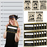 Roaring 20s Photo Booth Props Mug Shot Height Chart Backdrop Wanted Poster