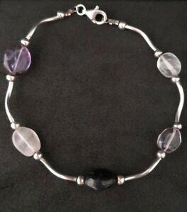 Solid sterling silver natural stone pre loved bracelet