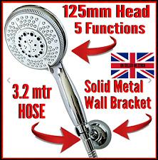 5 Function Chrome Shower Head + extra long 3 mtr shower hose  Metal wall bracket