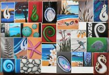 Maori Kiwiana NZ Fern Frond Koru Paua - 24 Prints of my Original Paintings