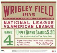 """Chicago Cubs 1935 World Series Wrigley Field Ticket Stub 24"""" Vinyl Wall Graphic"""