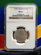 NGC MS 63 1939 A  WWII 2 Mark SILVER German Third  Reich Coin 5*