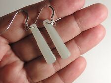 """WHITE CHINESE NEPHRITE Jade """"Flawless TRANSLUCENT"""" EARRINGS STERLING SILVER Hook"""