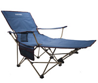 Khore Automaticly Adjustable Recliner Folding Camping Chair with Footrest Blue