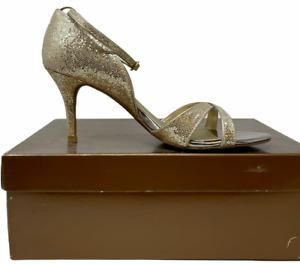 AUDREY BROOKE Gold Glitter Ankle Strap Heels Women's Size 8 VGC!