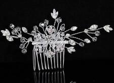 FLOWER CLEAR AUSTRIAN RHINESTONE CRYSTAL HAIR COMB BRIDAL WEDDING TIARA C1359