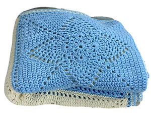 """Hand crocheted afghan bed throw star pattern white blue color block 68"""" x 50"""""""