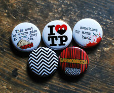 "5 x 1"" TWIN PEAKS BUTTONS pins badges fire walk with me david lynch season 1 2"