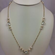 """14K YELLOW GOLD TOPAZ PEARL NECKLACE 28"""""""