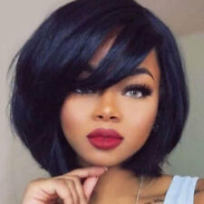 new  style black straight short Oblique bangs hair Wig wigs for women