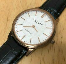 Stuhrling Original Swiss Men Rose Gold Slim Analog Quartz Watch Hour~New Battery