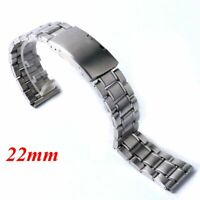 22mm Silver Stainless Steel Watch Strap Band Replacement Wrist Bracelet