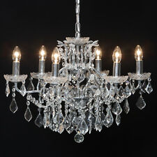 French Large 6 Branch Silver Chrome Boudior Glass Lighting Shallow Chandelier