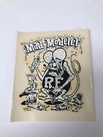 """VINTAGE ORIGINAL 1960'S RAT FINK MAD MODELER WATER TRANSFER DECAL 4.5"""" X 5.5"""""""