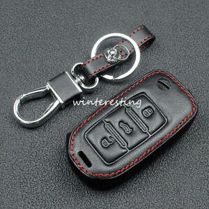Car Key Case Leather Holder For SKODA Fabia Octavia Superb Seat Leon Toledo Red