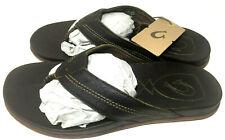 OLUKAI Mohalu Mens Size 10 Leather Thong Beach Sandals Dark Wood Comfort Slide