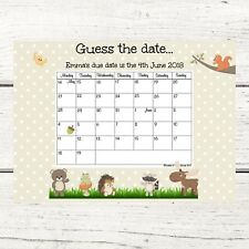 Personalised Woodland Guess the Baby's Due Date Sweep Stake Baby Shower Game