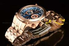 Invicta Men's 50mm Aviator Chronograph Blue Dial Rose Gold Case Bracelet Watch