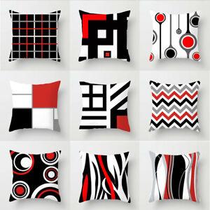 Pillow Cushion Black & White Geometric Throw Cover  Square Case Decor