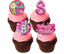 8th Birthday Girl Edible Cupcake Toppers Pink Standup Fairy Cake Bun Decorations