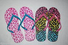 Womens Two Lot Flip Flops Pink White Giraffe Leopard Print Aqua Yellow S 5-6