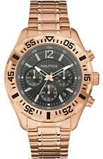 NEW NAUTICA ROSE GOLD TONE,S/STEEL,GRAY DIAL,CHRONOGRAPH BRACELET WATCH-A23613G