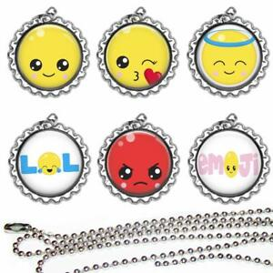 Set of 6 Emoji Kids Bottle Cap Necklaces Party Favors Goody Bags Prizes Gifts