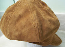 Brown Suede L Newsboy Cap Applejack Style Made USA Cabbie Hat by United Hatters