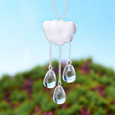 Exquisite Natural Crystal Solid 925 Silver Long Tassel Cloud Pendant for Women