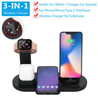 3in1 USB Station+Qi Wireless Charger Dock For Apple Watch AirPod iPhone 8 X XS