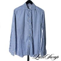 Eton of Sweden Contemporary White Royal Blue Plaid Spread Collar Shirt 16.5 NR