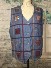 Bobbie Brooks Denim Vest Patchwork Hearts Vest Blue Size Large 12 14